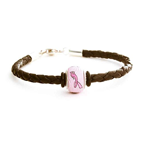 Dragon Boat Races Breast Cancer Awareness Charm Bead on Black Leather Braided Bracelet Sterling ()