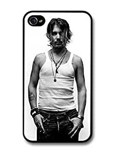 Johnny Depp Posing Black & White case for iPhone 4 4S A1221