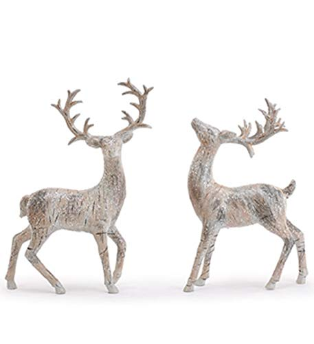 Napco Birch Deer Silver Tone 13 x 11 Resin Stone Collectible Figurines Set of 2