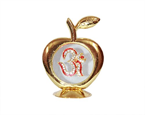 Odishabazaar Golden Apple Om Idol Car Dashboard Home Office Gift Item - 9x6 - Accent Apple Golden