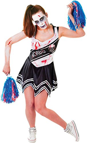 [Women Halloween Fancy Dress High School Zombie Cheerleader Costume Outfit Black] (High School Zombie Costumes)