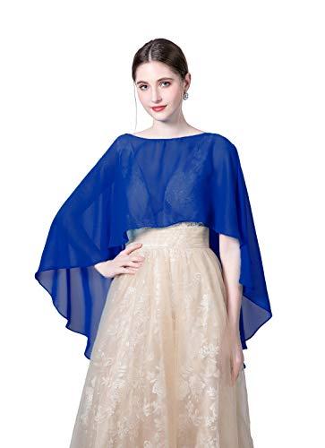 Wedding Capes Womens Soft Chiffon Shrug Bridal Long Shawl and Wraps, Blue, One Size