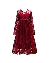 OwlFay Flower Girl Dresses Lace Maxi Gown Kid Princess Wedding Long Sleeve Fall Dress