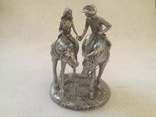 Resin Bronze Look Cowboy And Cowgirl on Horse Figure Statue Home D¨¦cor