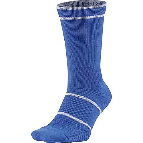 Nike Court Essentials Crew Tennis Socks (LG (Men's Shoe 8-12, Women's Shoe 10-13), Signal Blue/White) (Cheap Blue Nike Socks)