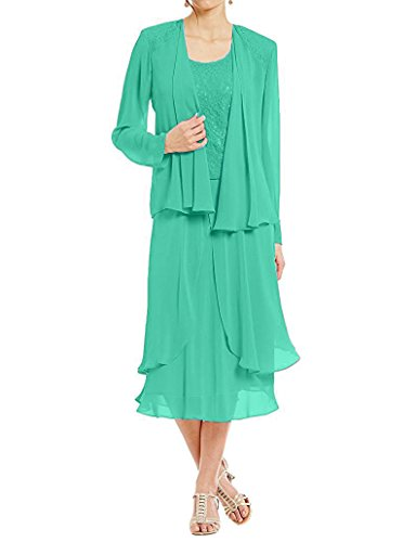 Women's Elegant Long Formal Party Dresses Lace Mother of Bride Dresses with Jacket Jade US14