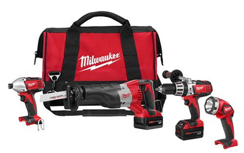 Milwaukee 2692-24 18-Volt Hammer-Drill Impact Wrench Sawzall Reciprocating Saw and Worklight Combo Kit