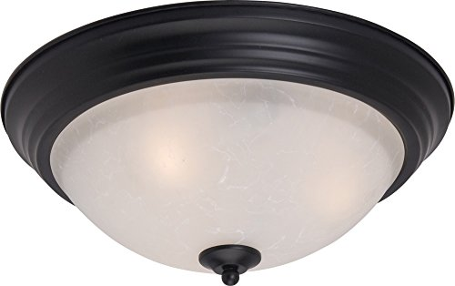 Maxim 5842ICBK Essentials 3-Light Flush Mount, Black Finish, Ice Glass, MB Incandescent Incandescent Bulb , 60W Max., Dry Safety Rating, Glass Shade Material, Rated Lumens (Black Finish Mount Flush)