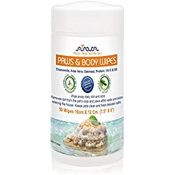 """Arava Pet Paws & Body Wipes, 50 Count - for Dogs, Cats, Puppies & Kittens, Removes Dirt, Dust & Odors, Gentle Cleansing & Moisturizing Formula - 100% Hazardous Chemical-Free, 18cm x 12cm (7.5"""" x 5"""")"""