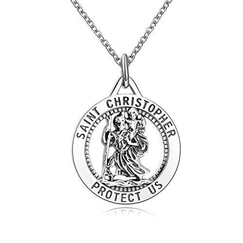 LUHE Saint Christopher Necklace Sterling Silver Inscription Religious Jewelry Round Medallion Pendant Necklace, 18