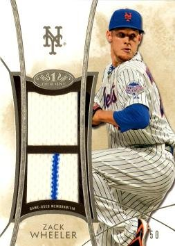 2014 Topps Tier One Dual Relics #DR-ZW Zack Wheeler Game Worn Jersey Baseball Card - Only 50 made!