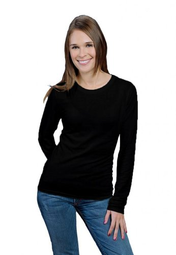 (ONNO Women's Long Sleeve Bamboo T-Shirt L Black)