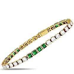 Yellow Gold Diamond and Emerald Tennis Bracelet