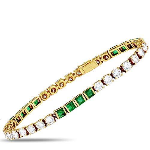 Van Cleef & Arpels (Est.) Van Cleef & Arpels Vintage 18K Yellow Gold Diamond and Emerald Tennis Bracelet (First Van Cleef And Arpels Gift Set)