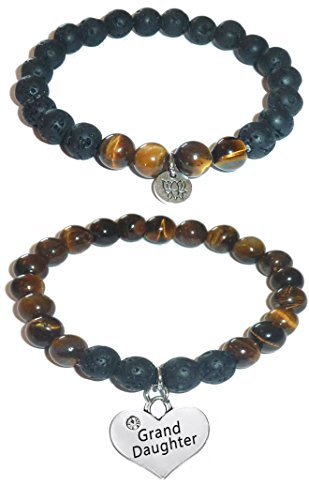(Hidden Hollow Beads Charm Tigers Eye and Black Lava Natural Stone Women's Yoga Beaded Stretch Bracelet Set. COMES IN A GIFT BOX! (Grand Daughter))