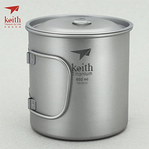 Keith Titanium Single-Wall Mug with Folding Handle and Lid - 22 fl oz