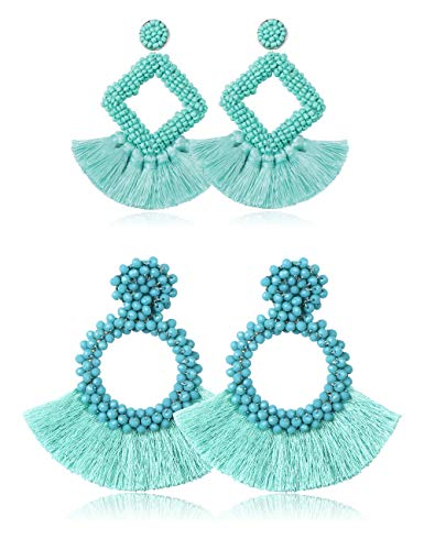 LOLIAS 2 Pairs Tassel Earrings for Women Statement Handmade Beaded Fringe Dangle Earrings Idea Gift,Turquoise - Hobe Beaded Earrings