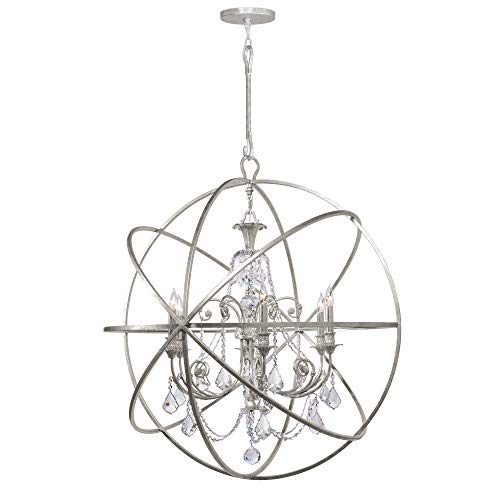 Crystorama 9219-OS-CL-MWP Crystal Accents Six Light Chandeliers from Solaris collection in Pwt, Nckl, B/S, Slvr.finish,