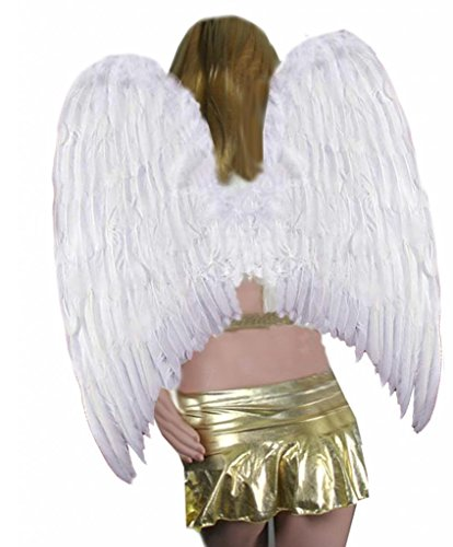 SACASUSA Extra Large Feather Halloween Fairy Angel Wings in White one Size -