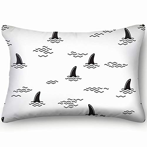 best bags Shark Fin Dolphin Whale Ocean Wave Animals Wildlife Home Decor Wedding Gift Engagement Present Housewarming Gift Cushion Cover 20X30 Inch (Difference Between Shark Fin And Dolphin Fin)
