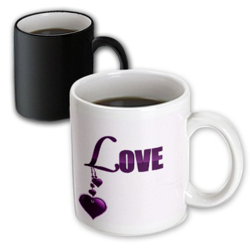 3 Dangling Heart - 3dRose Anne Marie Baugh Words - The Word Love In Purple With Dangling Heart Shapes - 11oz Magic Transforming Mug (mug_101356_3)