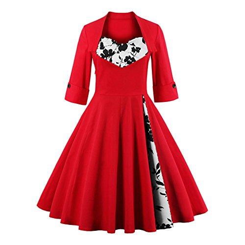 Pinkyee - Vestido - trapecio - para mujer Floral Rojo