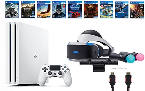 PlayStation VR Deluxe Bundle 12 Items:VR Start Bundle,PS4 Pro 1TB Console - Destiny 2 Bundle,8 VR Game Disc Rush of Blood,Valkyrie,Battlezone,Batman,DriveClub,Eagle, RIGS,Resident Evil 7:Biohazard by Sony VR