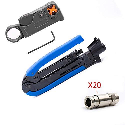 Coax Compression Crimping Stripping Tool Kit F-Type Crimper RG59 RG6 RG11 / Stripper and Connectors (20 pcs)