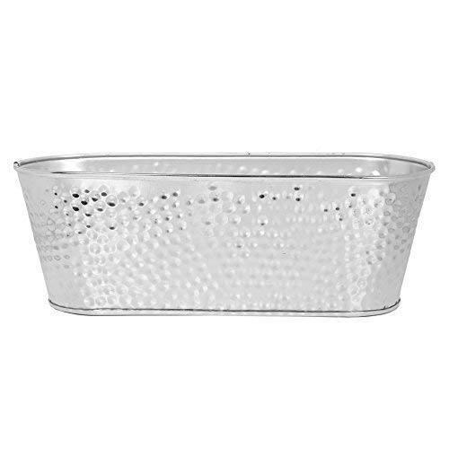 Hosley 11.75'' Long, Galvanized Dish gardenPlanter Silver Finish Ideal Gift for Home, Patio and Garden. - Planter Oval Metal