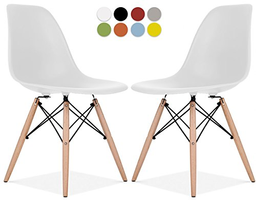 Eiffel Wood (La Valley Eames Style Chair by Set Of 2 - Mid Century Modern Eames Molded Shell Chair with Dowel Wood Eiffel Legs - for Dining Room, Kitchen, Bedroom, Lounge - Easy-Assemble & Clean - White)