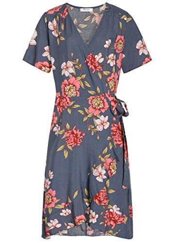 Pintage Women's Floral Wrap Dress Bohemian Flounce Dress M Gray Peony