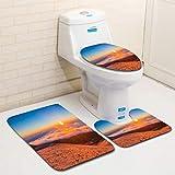 MTSJTliangwan Home Bathroom 3 Piece Sets, Included Bath Area Rug+Contour Mat+Lid Toilet Seat Cover Sunrise at Mauna kea Flannel Carpet