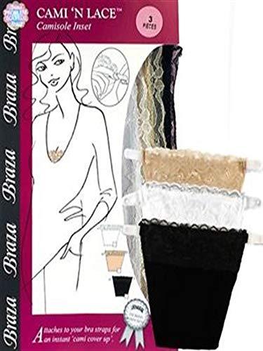 Braza Cami N Lace 3 Pack, Beige/Black/White, One Size