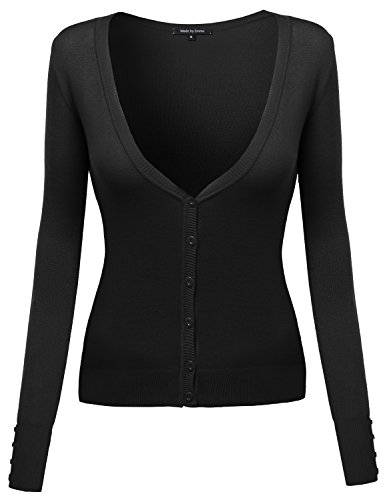 Made by Emma MBE Womens Classic Basic Deep V-Neck Cardigan with