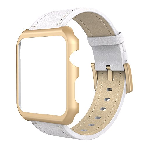 Simpeak Compatible for Apple Watch Band with Case 42mm, Genuine Leather iWatch Band Strap with Metal Apple Watch Case for 42mm Apple Watch Series 3 2 1, White