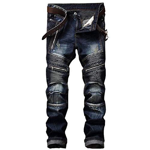 Zipper Da Strappati Blu Jeans Cher Slim Di Straight Casual Skinny Uomo Cotone Tempo Marca Pantaloni Fit Con Fori Mode Libero Pieghettati dtqYqnFR