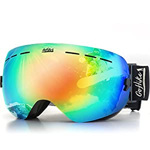Go Hike Ski Unisex Snow Glasses with UV Protection and Anti-Scratch, Interchangeable Lens, Best Snowboard Goggles with Easy-Fit Strap Adjustment