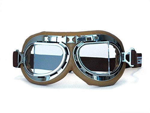 CRG Sports Vintage Aviator Pilot Style Motorcycle Cruiser Scooter Goggle T08 T08SCN Transparent lens, silver frame, brown padding