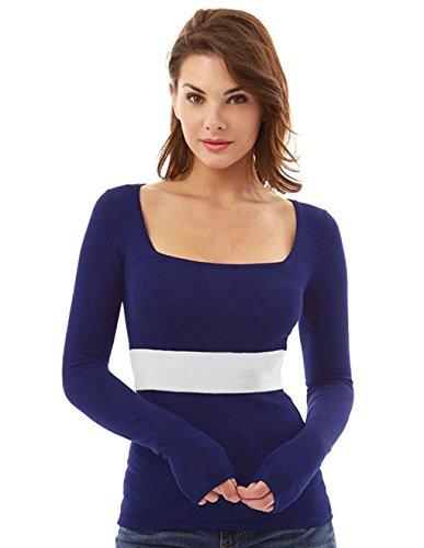 LemonGirl Women's Slim Square Neck Block Color Long Sleeve Blouse Shirt by LemonGirl