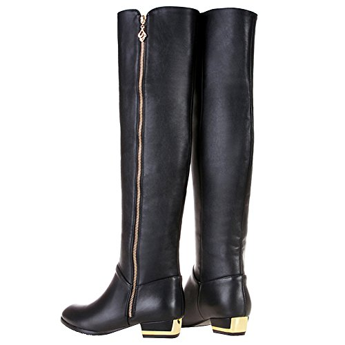 Boots Over Knee Women's The Zip rismart Leather Fashion High Black Riding qwzxTW4a