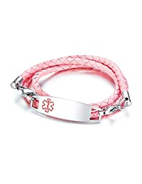Custom Engraved Medical Alert ID Bracelets with Stainless Steel Tripe Braided Leather 3-Layered Wrap Bracelets