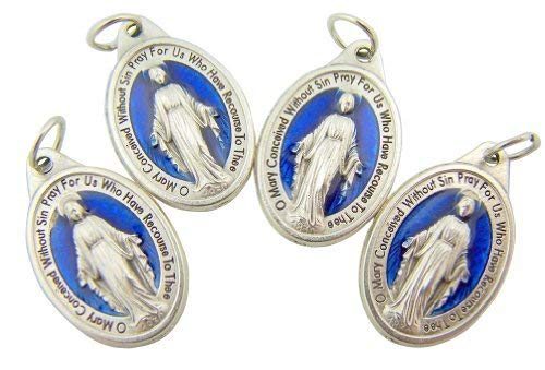 (Lot of 4 Mens Womens Catholic Gift Silver Tone Royal Blue Enamel Blessed Mary Miraculous Medal Devotional Charm)