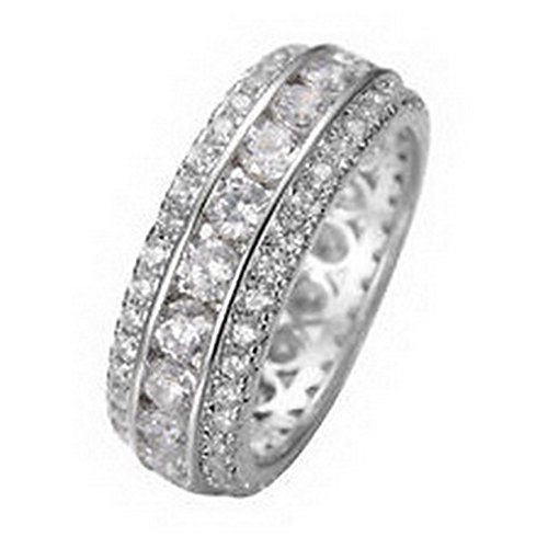 jacob alex ring Size6 White Sapphire Wedding Engagement Band Ring 10kt White Gold Filled (Case Filled Gold)