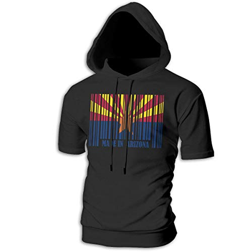 (Mens Short Sleeve Arizona Barcode Flag Hooded Sweatshirt, Original 100% Cotton Pullover Hoodie for Youth)