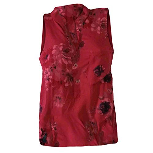 Women Tops Summer Plus Size Tops Loose Print V-Neck Sleeveless Blouse Pullover Tops with Pocket Red ()