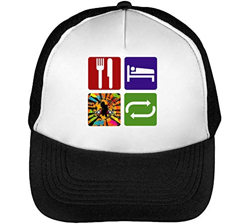 Beisbol Negro Gorras Eat Snapback Rave Hombre Blanco Graphic Repeat Sleep wOgqU10