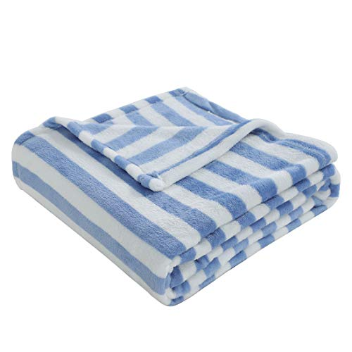 (uxcell Lightweight Soft Plush Floral Fleece Throw Blanket,Velvet Fuzzy Decorative Flannel Blanket with Blue and White Stripes for Couch/Sofa, 50 inches x 60 inches)