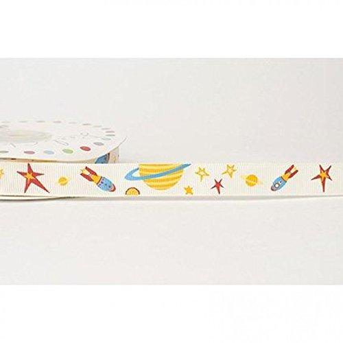 (16mm Reel Chic Rocket Print Grosgrain Ribbon Antique White - per metre)