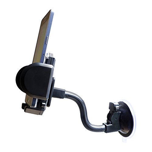 Kfz Universal Halterung mit Saugfuss-Schwanenhals und Lüftungsgitter-Klammern für alle Smartphones, Navigationsgeräte, Handys, PDAs und sonstige tragbare Geräte mit einem Seitenmaß von 35 bis 105 mm!