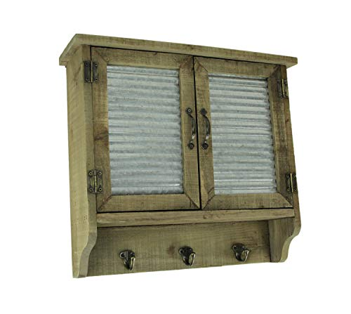 (HomeView Design Rustic Wood and Metal Wall Mount Shutter Cabinet with Hooks)